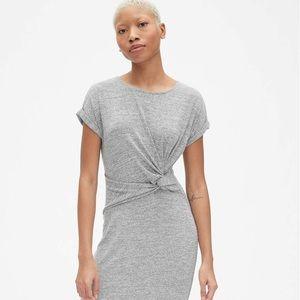 GAP Softspun Short Sleeve Twist-Knot Midi Dress